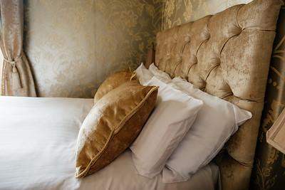 a headboard and pillows