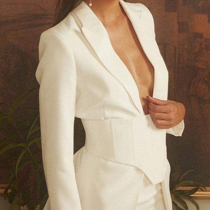a white smart womens coat