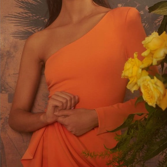 a wonderland dress in orange with yellow flowers in the frame