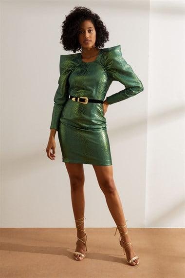 yesil karpuz kol parlak mini elbisest050 9a27