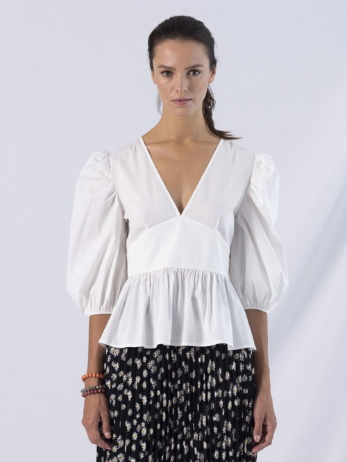 adriana balloon sleeve double v neckline fitted top 6