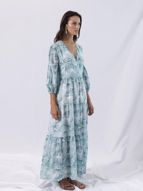 aqua ruffle long dress 2
