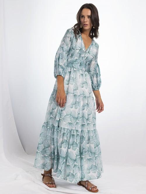 aqua ruffle long dress 3