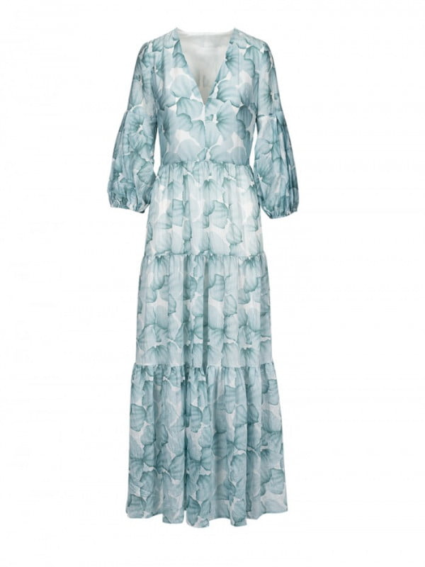aqua ruffle long dress 6