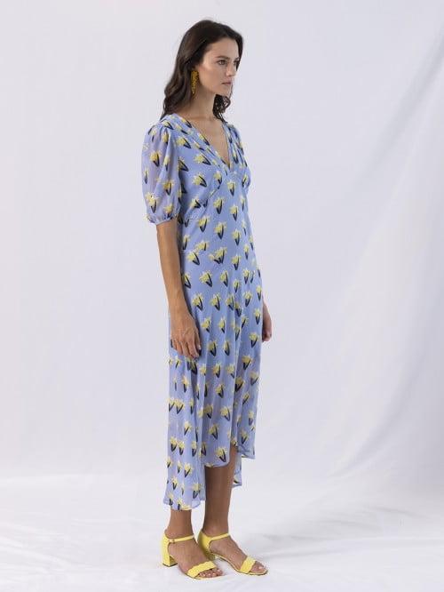 long dress v neck short sleeve fleuredelis 1
